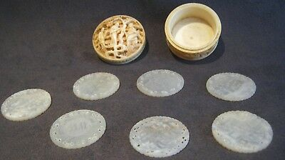 Set 7 antique carved Chinese mother of pearl MOP Round gaming counters + box