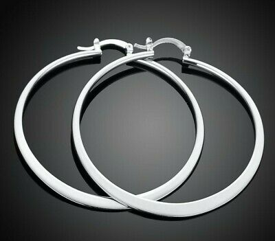 Womens 925 Sterling Silver Elegant 58mm Round Circle Pierced Hoop Earrings #E107