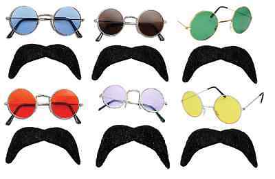 Mens Hippy Hippie 70's 80's Lennon Ozzy Round 2 Piece Glasses + Black Tash Set