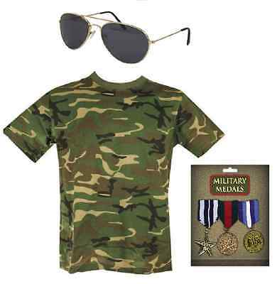 Mens Army Camouflage Soldier Military Hero Rambo 3 Piece Fancy Dress Costume Set