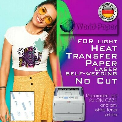 "Laser Iron-On TRIM FREE Heat Transfer Paper Light fabric 50 Sheets 8.5"" x 11"" :)"