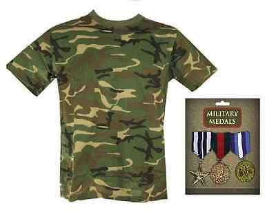 Mens Army Camouflage Soldier Military Hero Rambo 2 Piece Fancy Dress Costume