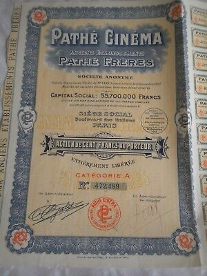 Vintage share certificate Stock Bonds action  Pathé Fréres Pathé Cinema type 2