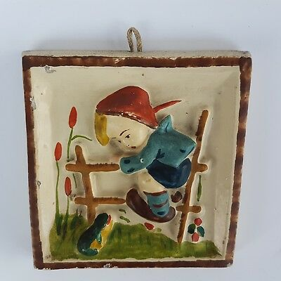 Antique Ceramic Wall Tile Wall Decor Hummel-Style Child /Boy/ Relief