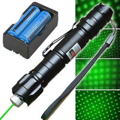 50Mile 532nm Green Laser Pointer Pen Star Cap Visible Beam+Battery+Charger US