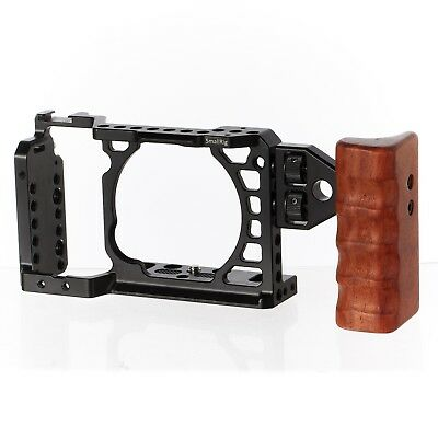SmallRig Cage for Sony A6500 + CAMVATE left Wood Wooden Handle Grip Mount