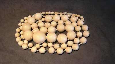 Antique Chinese / African Carved Bone Necklace (Bovine) 19C Qing Dynasty