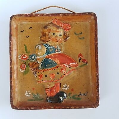 Antique Ceramic Wall Tile Wall Decor Hummel-Style Child /Girl/ Relief