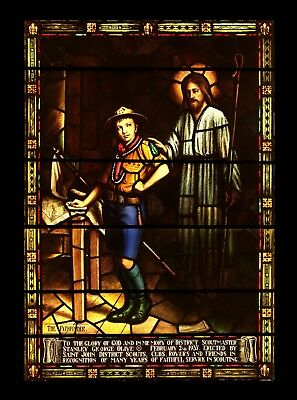 "Historic 1937 Boy Scout Collectible ""the Pathfinder""  Stained Glass Window"