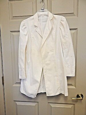 Antique Edwardian Ladies Ivory Linen Protective Motoring Duster Coat
