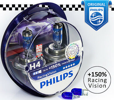 NEW H4 PHILIPS Racing Vision +150% Halogen Car Headlight Bulbs 12V 55W +Blue W5W