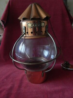 Vintage Cabin Copper Lamp Light Old Bulbous Glass Ship Nautical S/R