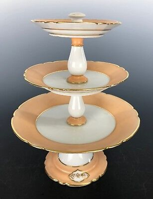 OLD PARIS PORCELAIN Sweets Tidbit Tiered Tray Apricot Band Gilded Monogram CSH