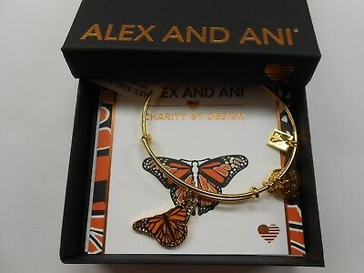 Alex and Ani Monarch Butterfly Shiny Gold NWTBC