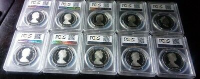 10 year date run of Canadian Silver Dollar Coins PCGS pr69dcam 1981 through 1990