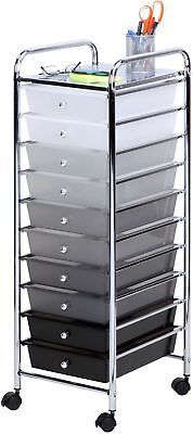 10-Drawer Home Office Craft-Room Paper Accessories Organizer Shaded Storage Cart