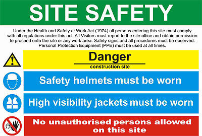 site saftey sign sticker health safety warning construction site ppe