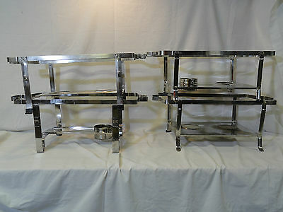 2 (two) Used Stainless Steel Chafing Dish - Chafer - Rack - Stand - Frame