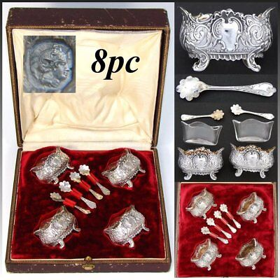 Antique French Sterling Silver 4pc Open Salt Set, Ornate Rococo Style, Orig. Box