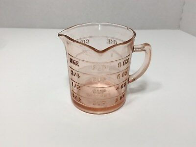 Vintage KELLOGG'S Measuring Cup, Pink Glass 3-way Pour