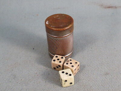 Vintage Tiny Pocket Gambling,Casino Device,Dice Cup, Miniature Bone Dice