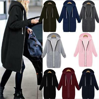 AU Winter Womens Zipper Hoodies Hooded Ladies Coat Jacket Tops Outwear Plus Size
