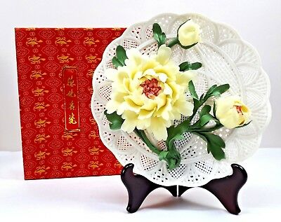 Handmade Peony Porcelain plate Hand Carved Pale Yellow Petals Vintage