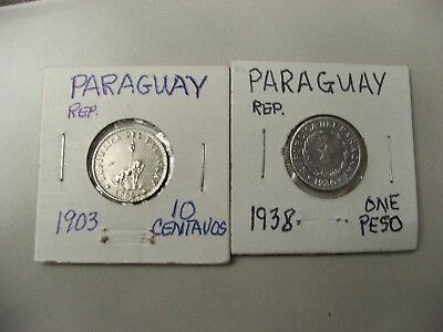 (2) Old PARAGUAY Coins 1903 10 CENTAVOS & 1938 1 PESO- both 1 yr. issues