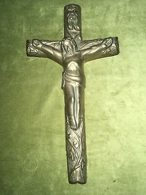 RARE Antique Vintage LARGE BIG HEAVY SOLID BRASS JESUS Cross Religious Crucifix