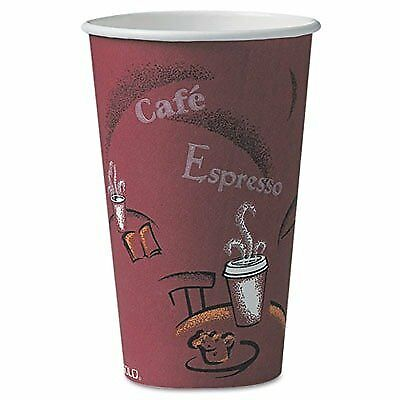 16 Oz Polylined Paper Hot Drink Cups Bistro Design in Maroon
