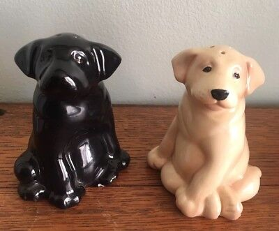 Vintage Black and Gold Lab Puppy Salt Pepper Shaker Set with Plugs Dog Lovers