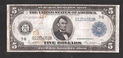 Rare 7 Digit Serial Chicago Type-A 1914 $5 Federal Reserve Note
