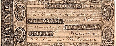 1832-5.00 Maine Obsolete Note From Waldo Bank,Befast,Maine XF