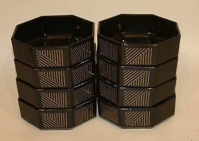 8 Arcoroc France Verre Trempe Black Amethyst Glass Octagon Cereal Bowls