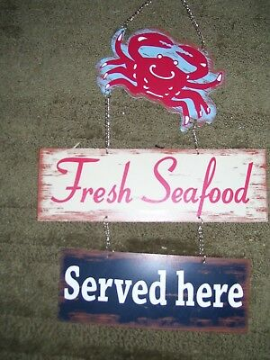 LG CRAB FRESH SEAFOOD SERVED HERE Sign RESTAURANT DECOR BEACH HOUSE PARTY