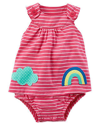 Carters NB 3 6 9 12 18 24 Months Pink Sunsuit Romper Baby Girl Clothes