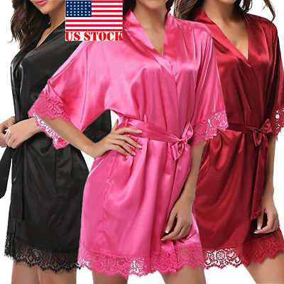US STOCK Women's Lady Sexy Lace Sleepwear Satin Nightwear Lingerie Pajamas Suit