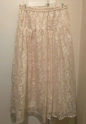 LACY AFTERNOON by Shell Kepler Vintage Ivory Off White Lined Lace Skirt Sz M