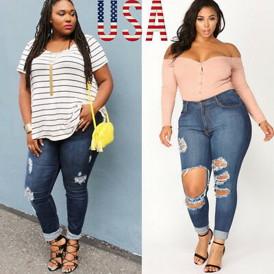 US WOMENS PLUS SIZE Distressed RIPPED BLUE SKINNY DENIM JEANS MIX Styles Pants