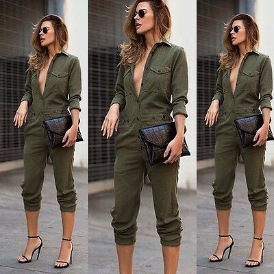 Women Long Sleeve Sport Jumpsuit Bandage Bodycon Bodysuit Zipper Romper Clubwear