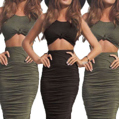 Women 2 Piece Bodycon Two Piece Crop Top and Skirt Set Bandage Dress Party STOCK