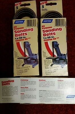 "Norton 3 PACK 1"" x 30"" All Purpose Sanding Belts Coarse 50 Grit USA MADE Hwt. AO"