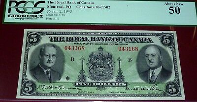 1943 Royal Bank Of Canada $5 ,SCARCE in Higher Grades PCGS 50 ABOUT NEW