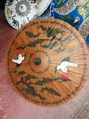 Handcrafted Thai Thailand Parasol Umbrella Hand Painted Crane Birds Natural