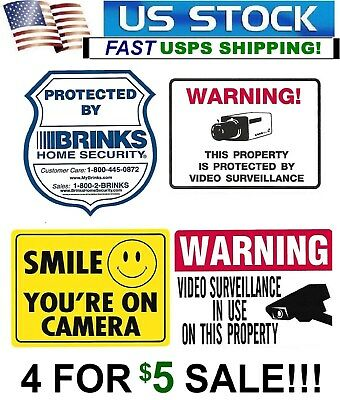 Lot Of 4 Window Warning Sticker Decals Brinks+Smile+Security Camera