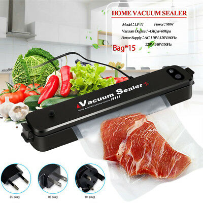 Home Food Saver Vacuum Sealer Machine Kitchen Preservation System W/ 15Pcs Bags