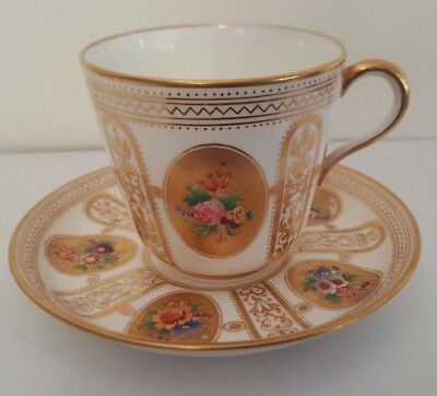 Quality Gilded Hand Painted Porcelain Floral Cup and Saucer - Numbered Base