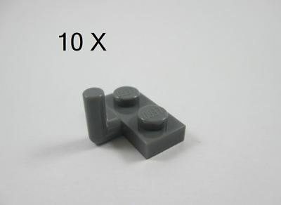 LEGO Lot of 12 Dark Bluish Gray 1x2 Arm Up Plate Pieces