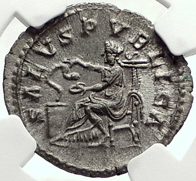 MACRINUS Genuine 217AD Rome Authentic Ancient Silver Roman Coin SALUS NGC i68753