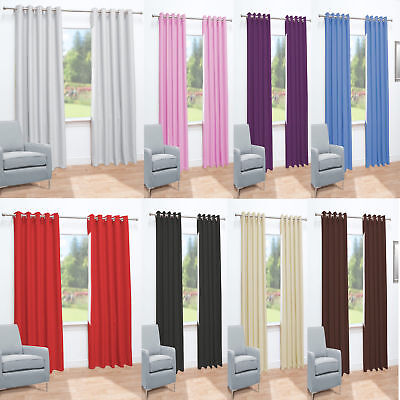 New Thermal Blackout  Eyelet Top Ready Made Curtains - Energy Saving